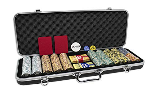 Da Vinci Monte Carlo Poker Club Set of 500 14 Gram 3 Tone Chips with Upgrade Ding Proof Black ABS Case, 2 Decks of Plastic Playing Cards, 2 Cut Cards, Dealer and Blind Buttons