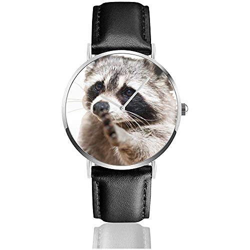 Smart Animals Racoon Classic Casual Quartz horloge roestvrij staal lederen band horloges