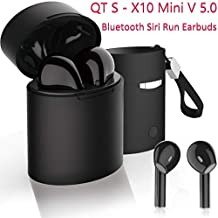 QT S Mini X 10 TWS Stereo V 5.0 Bluetooth Siri Run Earbuds Wireless Headset - Sweat and Noise Prof, Micro Headphone for Compatible Bluetooth Devices with Charging Box/Case