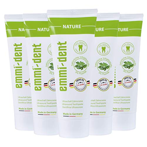 emmi®-dent Zahnpasta für Ultraschallzahnbürsten – Nature – Zahncreme für Sogwirkung, 75 ml (5 Stück)