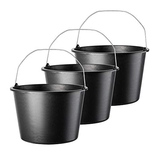 KADAX Baueimer, 20L, Mörteleimer aus Kunststoff, runder Eimer für Baustelle und Garten, Stabiler Wassereimer, Zementeimer mit Griff aus Metall, Mörtelkasten, schwarz, Putzeimer (3)