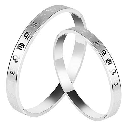 chiwanji Stainless Steel Constellation Engraved Cuff Bracelets Bangle Men Women Gifts