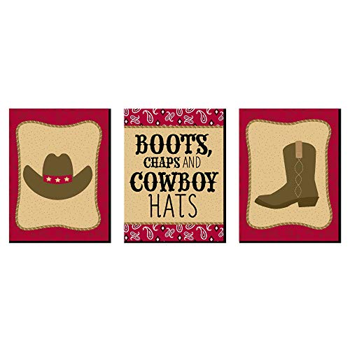 Big Dot of Happiness Little Cowboy - Western Nursery Wall Art and Kids Room Decorations - Gift Ideas - 7.5 x 10 inches - Set of 3 Prints