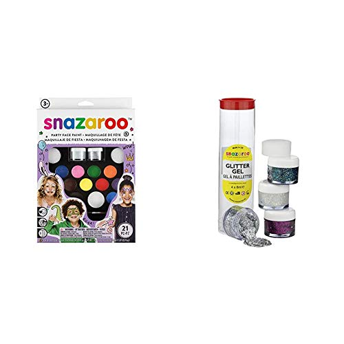 Snazaroo 1180100 Ultimate Party Pack, Multicoloured & Face and Body Paint, Glitter Gel, Tube A, Assorted, 4 x 8 ml