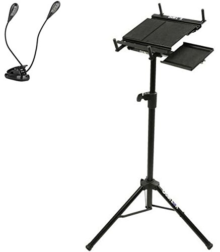 Quik Lok Multi-Function Adjustable Tripod Stand w/ Pull-Out Mouse Tray For Laptops, Tablets, Music Sheets, MIDI Devices, Small Mixers w/ Ivation Music Clip Light