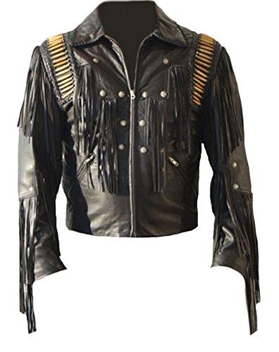 Bestzo - Chaqueta - para hombre negro Cow Leather Black XS-Para pecho 36-38 (Ropa)