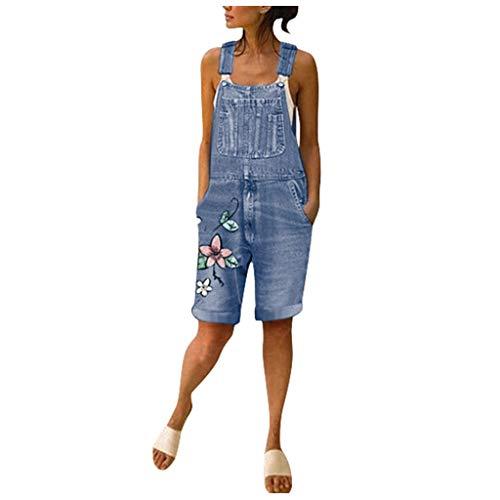 bobo4818 Damen Sommer Denim Latzhose Long Rompers Latzhose Overalls Jumpsuit Playsuit Jeans Hosenanzug Romper Kleidung Beachwear (L, Blue)