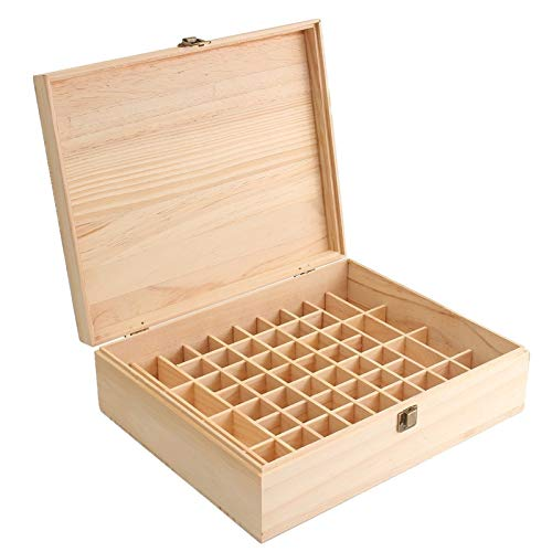 LULUTING 68 Slot Essential Oil Wooden Box Organizer Large Wood Storage Case Holds