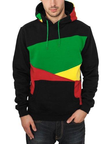 Urban Classics Bekleidung Zig Zag Hoody - Pull Homme, Multicolore (Blk/Rasta) - Medium (Taille Fabricant: Medium)