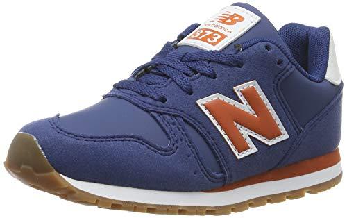 New Balance Jungen 373 Sneaker, Blau (Navy/Orange Navy/Orange), 32.5 EU