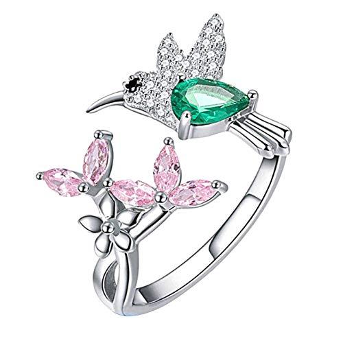 Eleganter Damenring mit Zirkonia, Blume, Vogel, offen, für Hochzeit, Verlobung, Party, Schmuck, Geschenk – Einheitsgröße