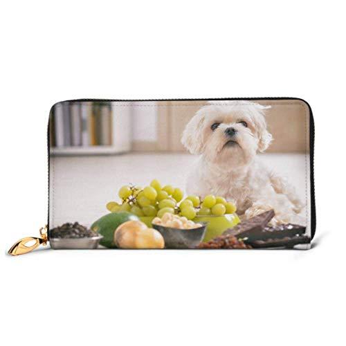 JHGFG Mode Handtasche Reißverschluss Brieftasche Little White Maltese Hundefutter Zutaten Telefon Clutch Geldbörse Abendkupplung Blocking Leder Brieftasche Multi Card Organi