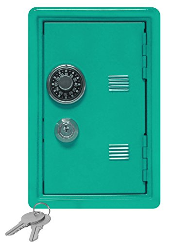 """Kid's Coin Bank Locker Safe with Single Digit Combination Lock and Key - 7"""" High x 4"""" x 3.9"""" Teal"""