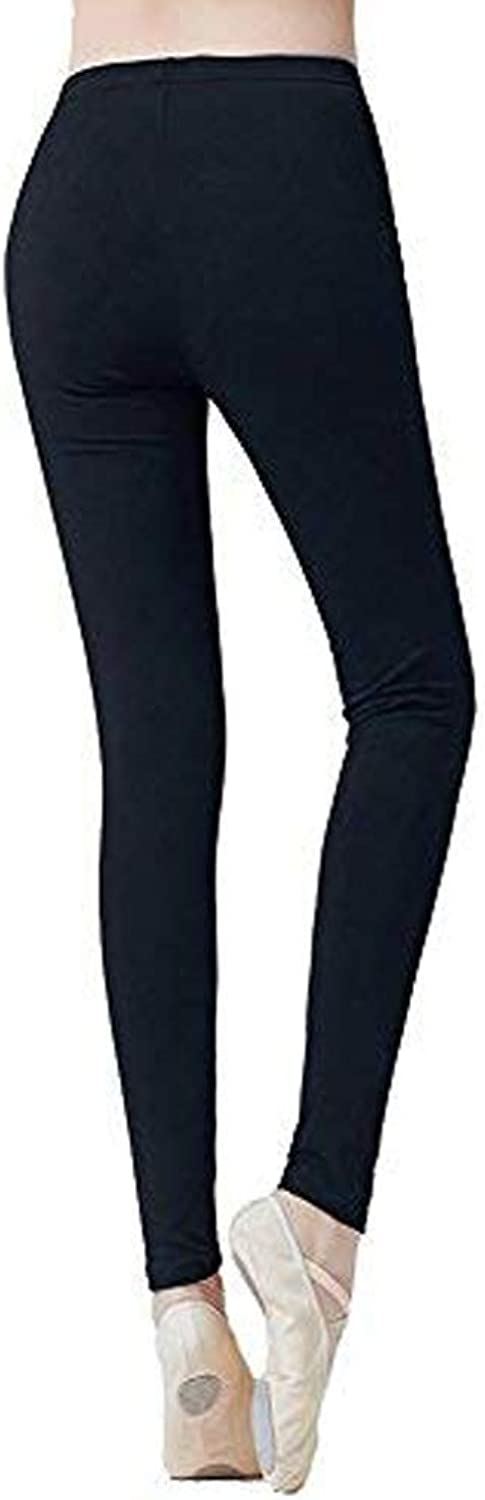 DANCEYOU Ballet Leggings for Women, Cotton Dance Gym Yoga Workout Legging Pants Black