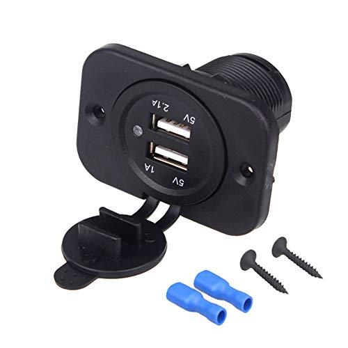 Enchufe de Cargador rápido USB Dual, Trpambvia 12V Cargador de Coche 5V 3.1A Toma de Corriente USB Adaptador con Fast Charging para Automóvil Camión SUV