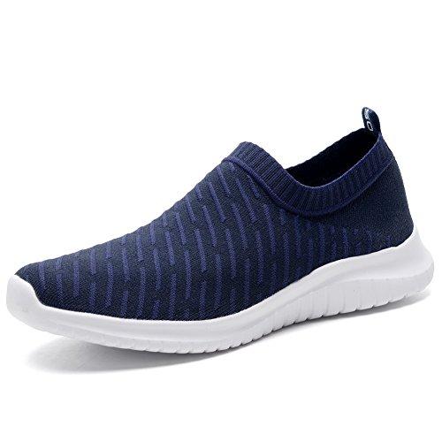 TIOSEBON Women's Walking Shoes Lightweight Mesh Slip-on- Breathable Running Sneakers 6.5 US Navy