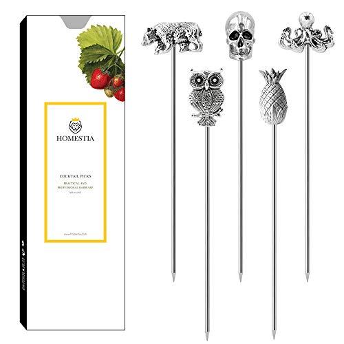 Cocktail Picks Stainless Steel Martini Picks Reusable Olive Picks Garnish Skewer Fruit Toothpicks