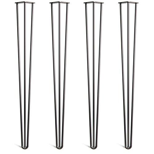 4x Haarnadel Heavy Duty 12mm Tischbeine Austauschbare Tisch&Schrank Beine für Heimwerker - Mitte des Jahrhunderts Modern Stil - Verfügbar in Höhe von 40cm-86cm - Freie Bodenschoner und Schrauben