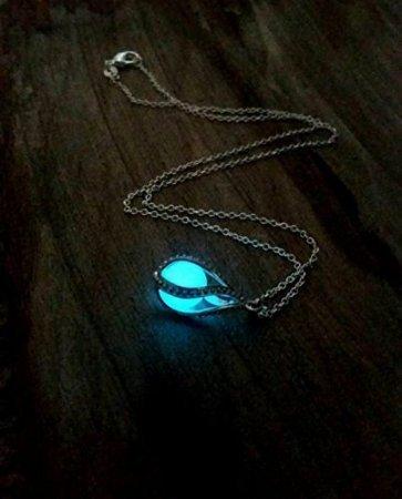 Glow in The Dark Dragon Egg, Mermaid Tear, Glowing Necklace, Glow in The Dark Tear Drop Necklace, Dainty Necklace, Blue Green Aqua