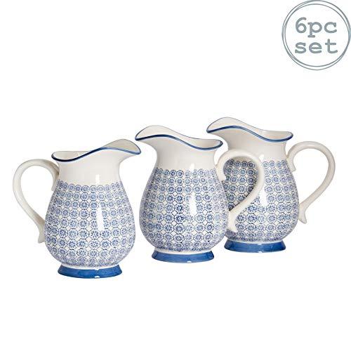 Nicola Spring Grand Vase/pichet à Eau à Motifs - Fleur Bleue imprimée - 2,2 litres x6