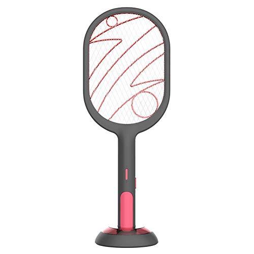 Mayyou - Pala mosquitera eléctrica 2 en 1, recargable, para insectos eléctricos, 3000 V, mosquitera eléctrica, USB recargable, modo Swatter antimosquitos y modo lámpara antimosquitos, negro