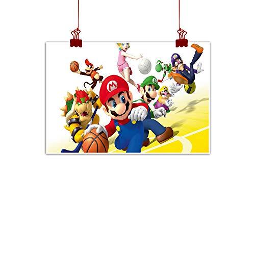 STTYE Arte de pared para niños, Luigi Mario para sala de estar, oficina, decoración de pared, diseño de mario, baloncesto para niños, sin marco, 91 x 61 cm