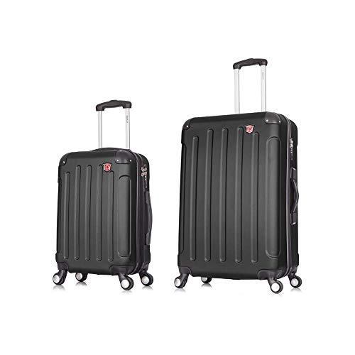 DUKAP Intely Hardside Luggage Set with Spinner Wheel, Travel Suitcases with TSA Lock and Ergonomic GEL Handle, Black, 2 Piece Set (20/28)