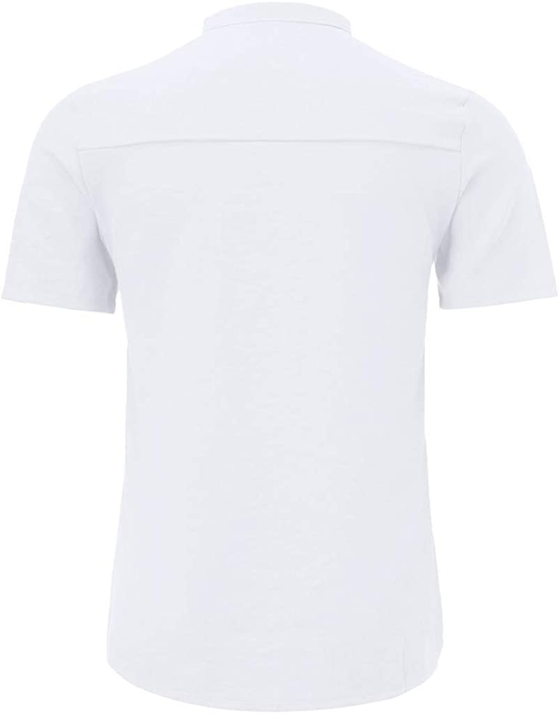 Linen Cotton Shirts for Men Casual Solid Color Loose Button Down Short Sleeve with Pocket Summer Beach Yoga Top