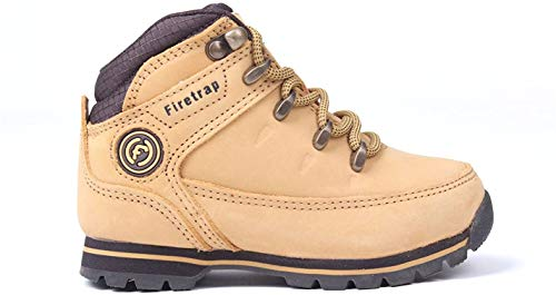Firetrap Kinder Rhino Leder Schnürschuhe Wanderschuhe Hiking Schuhe Stiefel Honig/Braun C9 (27)*