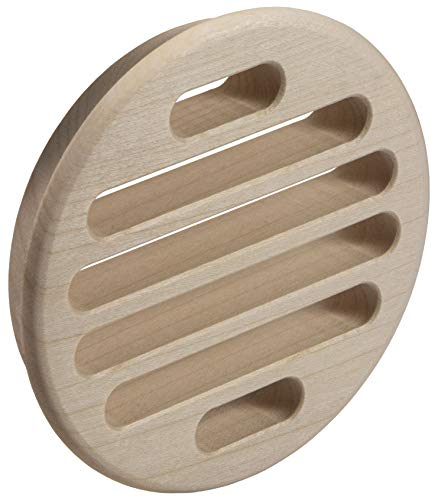 Ventilatierooster deurrooster massief hout afvoerrooster esdoorn | ventilatierooster rond | ring Ø 90 mm | deurventilatie om in te laten lopen | Made in Germany | 1 stuk - houten rooster voor meubels & radiatoren & deuren