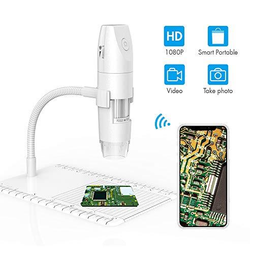 Kacsoo Interfaz USB Mini cámara de microscopio WiFi Microscopio Digital inalámbrico 50X-1000X 1080P con 8 Luces LED Adecuado para Todas Las Plataformas