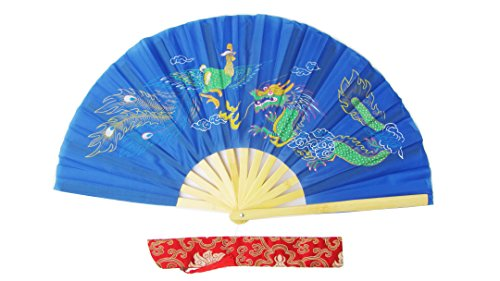 CHN Elements.accessories FD-DP-Blue-Bamboo Folding Fan Tai Chi Fan/Kung Fu Fan/Martial Arts/Dancing Fan Oriental Design-Dragon&Phoenix