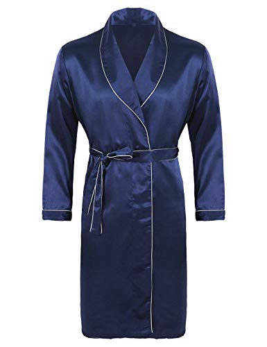 Freebily Bata De Baño para Hombres Albornoz Satinado Sueva Verano Kimono Pijama Larga Ropa de Dormir Hombres Mujeres Azul Marino XXL