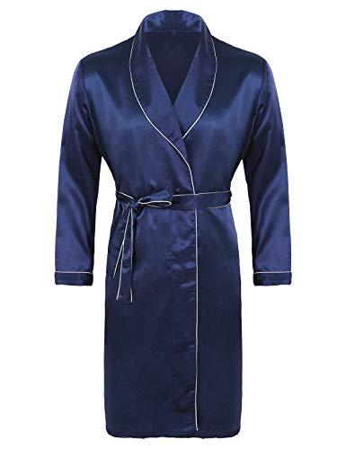 iEFiEL Herren Seide Satin Bademantel Elegant Morgenmantel Nachthemd V-Ausschnitt Kimono mit Gürtel 4 Farben, L XL 2XL 3XL Marineblau 3XL