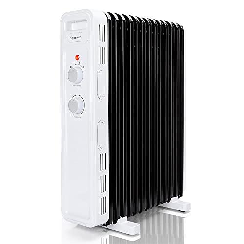 Aigostar Luke - Radiador de aceite de 11 elementos, 2300 Watios. 3 niveles de potencia, termostato ajustable. Ahorro de energía. Protección antivuelcos. Recomendado para estancias de 20 m2.