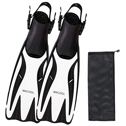 WACOOL Long Blade Adjustable Open Heel Fins Flippers for Scuba Snorkeling Diving with Mesh Bag