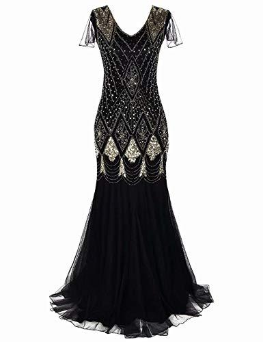 Abito lungo da donna anni '20 stile Charleston, abito da sera lungo, con lustrini e orlo a sirena, disponibile in taglie forti GA80 Black Gold S