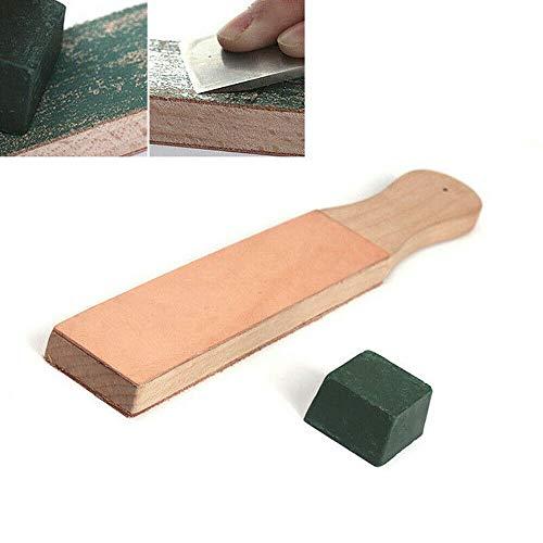 BAAQII dubbelzijdig lederen mesjes strop mes scheerapparaat puntenslijper met polijstmiddelen