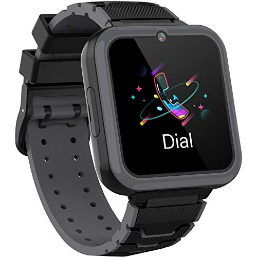 Smooce Kinder Smartwatch Telefon,Spiele Musik Smart Watch für Kinder,Kids Smart Watch mit SOS Anruf Kamera Spiele Wecker Musik Player für Jungen Mädchen (1GB Micro SD Enthalten (Black)