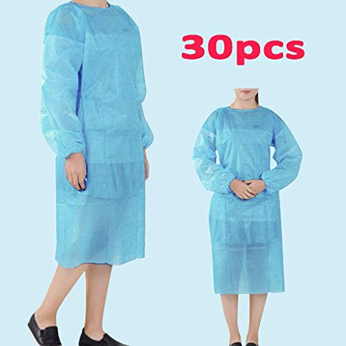 【US Stock】Universal Isolation Gown With Elastic Wrists, Adults Disposable Gown Coverall, Hospital Ward Siamese Isolation Protective Clothing Breathable Suit, Surgery Disposable Gown - Blue - 30 Pc