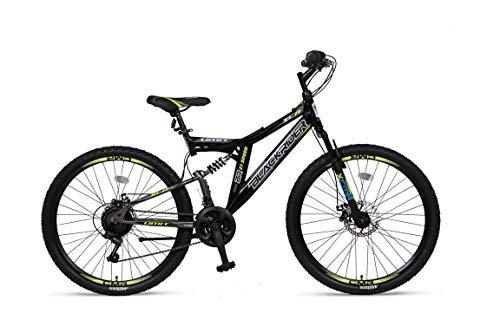 """Altec 26\"""" 26 Zoll Kinder Herren Jugend Fahrrad MTB Kinderfahrrad Mountainbike Bike Rad Vollfederung Fully 21 Gang Shimano Scheibenbremse Black Rider Schwarz Grün"""