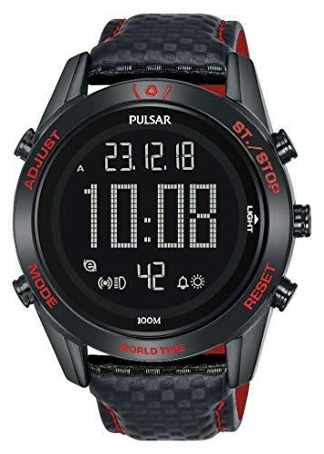 Pulsar Rally Herren-Uhr Chronograph Edelstahl mit Lederband P5A039X1