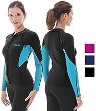 Women's Wetsuit Top, 2mm Neoprene Wetsuit Jacket Long Sleeve Front Zip Wetsuit Shirt for Swimming Water Aerobics Diving Surfing Kayaking (Black, 5XL)