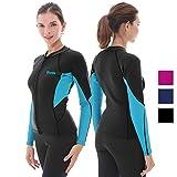 GoldFin Women's Wetsuit Top, 2mm Neoprene Wetsuit Jacket Long Sleeve Front Zip Wetsuit Shirt for Swimming Water Aerobics Diving Surfing Kayaking (Black, L)