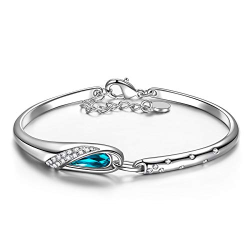 Qianse Christmas Gifts, Thanksgiving Day Gifts Glass Slipper 7″ Bangle Bracelet Made with Blue SWAROVSKI Crystal, Upcoming Black Friday Deals, Women Fashion Jewelry