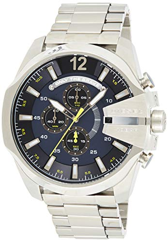 Diesel Men's Mega Chief Quartz Stainless Steel Chronograph Watch, Color: Silver-Tone (Model: DZ4465)