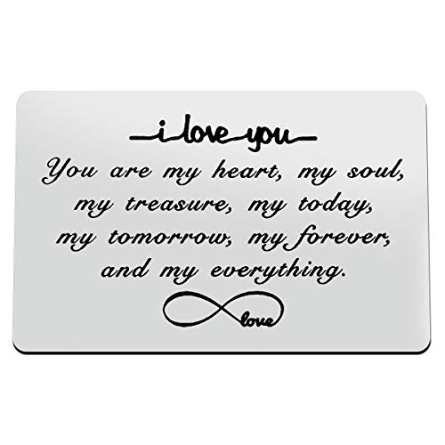 Engraved Wallet Insert Card Gifts Anniversary Card Gifts I Love You Forever Couples Gifts Soulmate Gifts for Him Her Birthday Gifts for Boyfriend Husband Valentine's Gifts for Men Christmas Presents