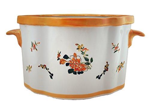 Monsieur Fredrik Motif Fleurs Jaune Pot en Porcelaine, Multicolore