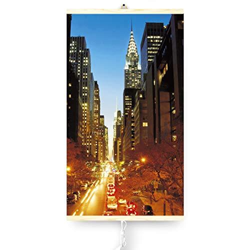 Trio Infrarotheizung Thermostat Bildheizung Heizpaneel Infrarot Heizkörper 430W Elektro Heizung mit Motiv 100x57cm (Manhattan)
