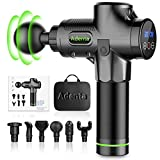 Massage Gun for Athletes Deep Tissue Percussion 30 Speed Electric Body Muscle Massager Brushless Motor Super Quiet Cordless Long Battery Sports Drill Handheld with Portable Bag 6 Heads for Pain Relief